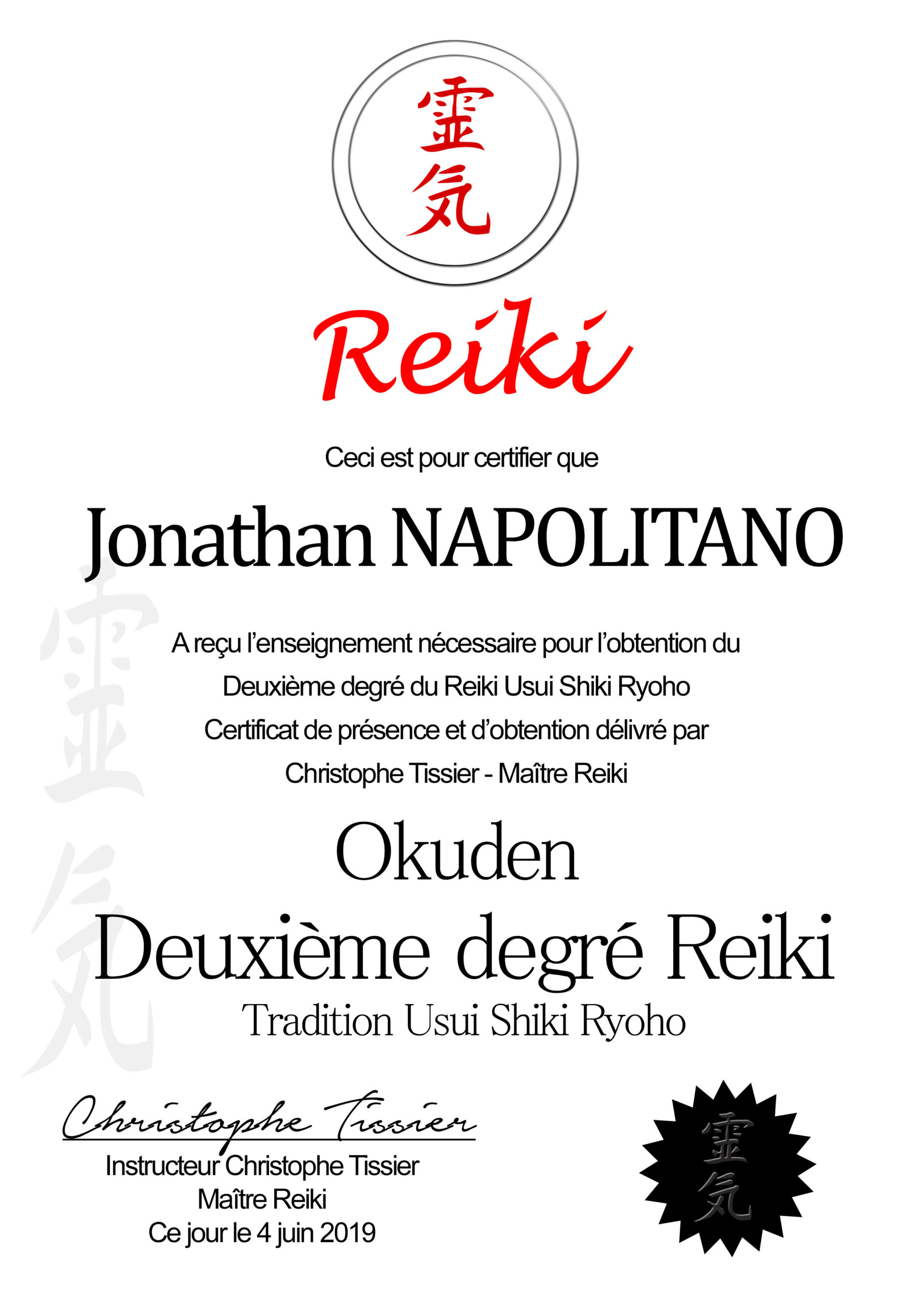 Certificat Reiki 2