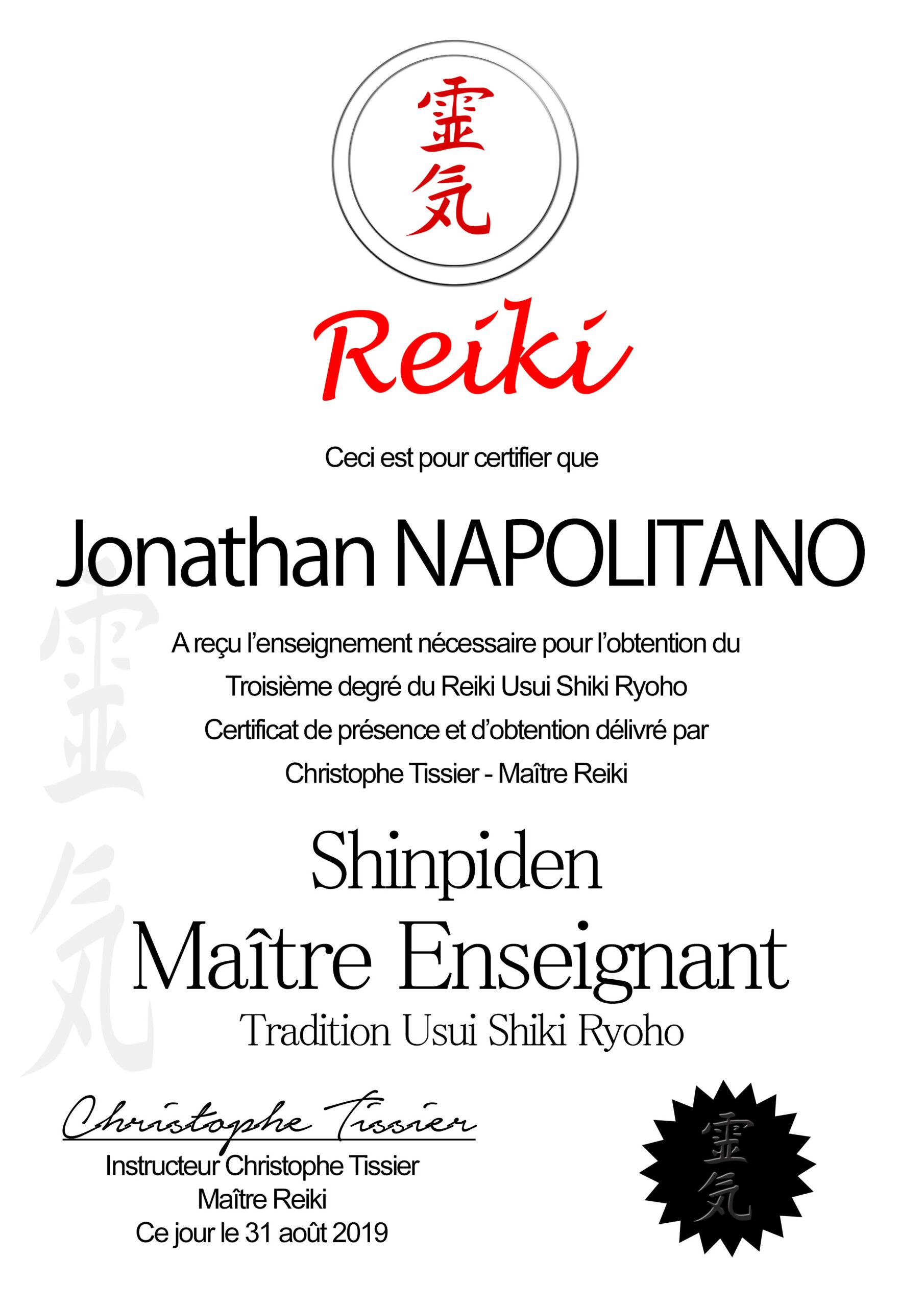 certificat reiki Maitrise